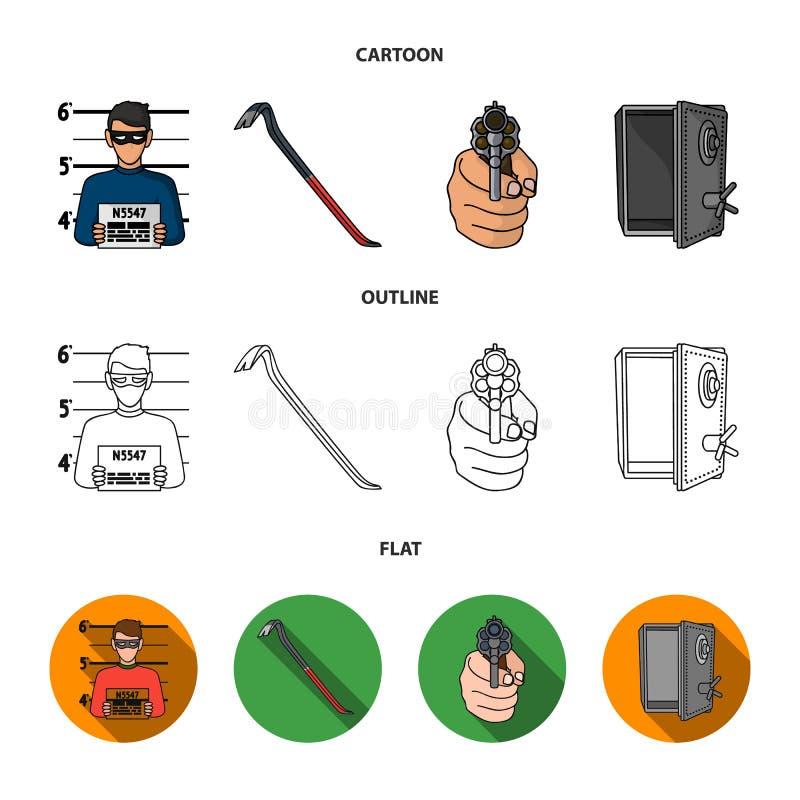 Foto del criminal, pedazo, caja fuerte abierta, arma direccional Iconos determinados de la colección del crimen en la historieta, ilustración del vector