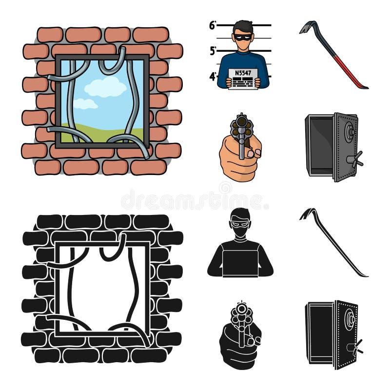 Foto del criminal, pedazo, caja fuerte abierta, arma direccional Iconos determinados de la colección del crimen en la historieta, libre illustration