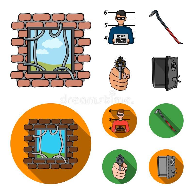 Foto del criminal, pedazo, caja fuerte abierta, arma direccional Iconos determinados de la colección del crimen en la historieta, stock de ilustración