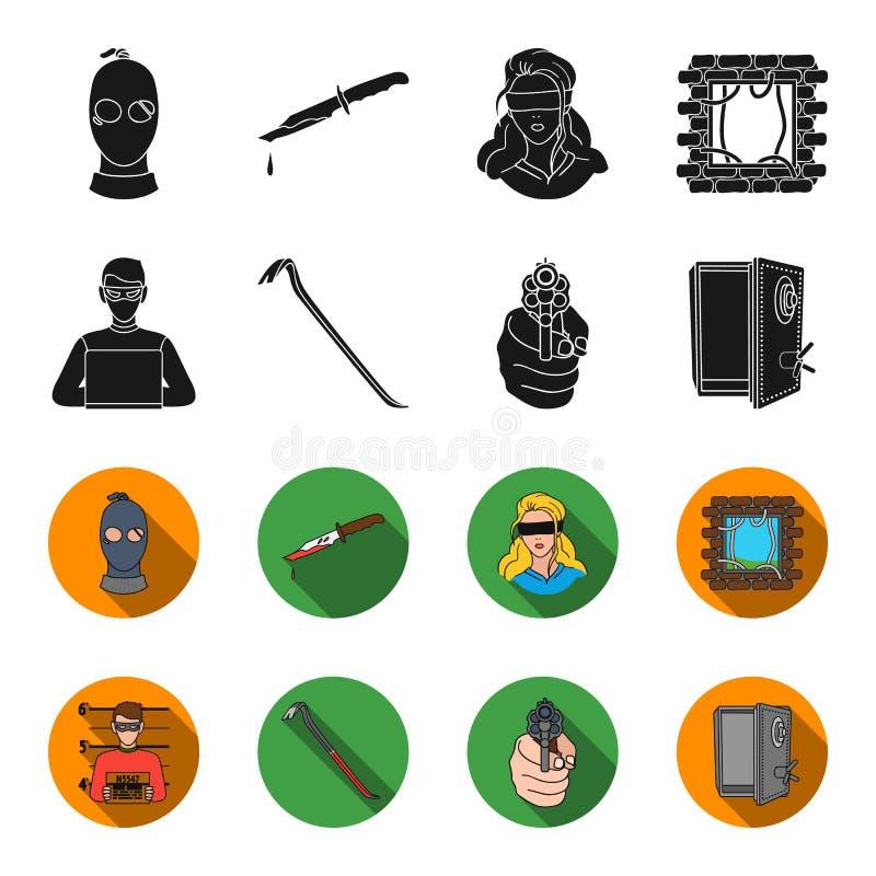 Foto del criminal, pedazo, caja fuerte abierta, arma direccional Iconos determinados en negro, acción de la colección del crimen  stock de ilustración