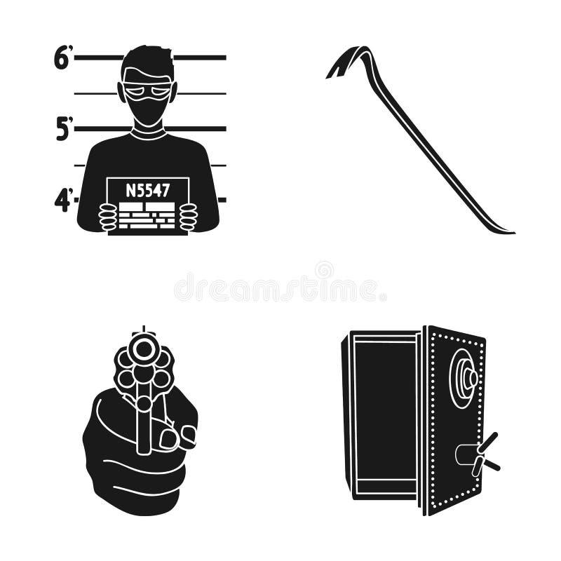 Foto del criminal, pedazo, caja fuerte abierta, arma direccional Los iconos determinados de la colección del crimen en estilo neg ilustración del vector