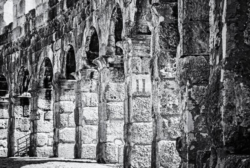 Foto del dettaglio dell'arena di Pola, Istria, Croazia, incolore fotografia stock