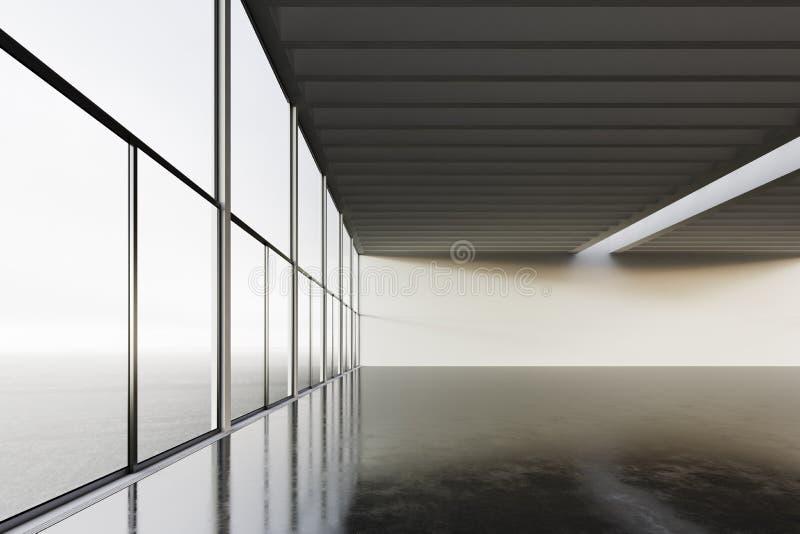 Foto del edificio moderno del sitio vacío del espacio Vacie el estilo interior del desván con el piso concreto, ventanas panorámi fotos de archivo