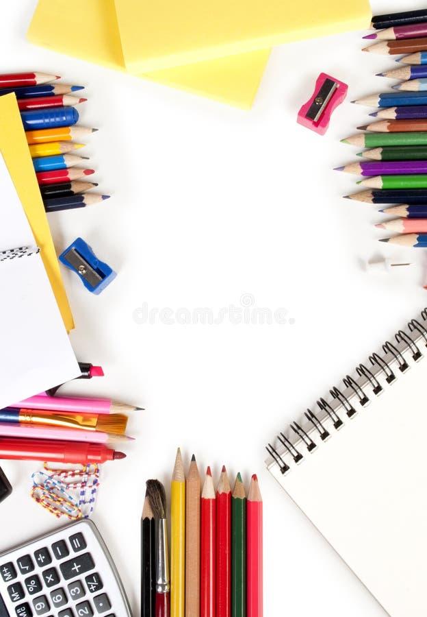 Foto del engranaje de la oficina y del estudiante imagen de archivo