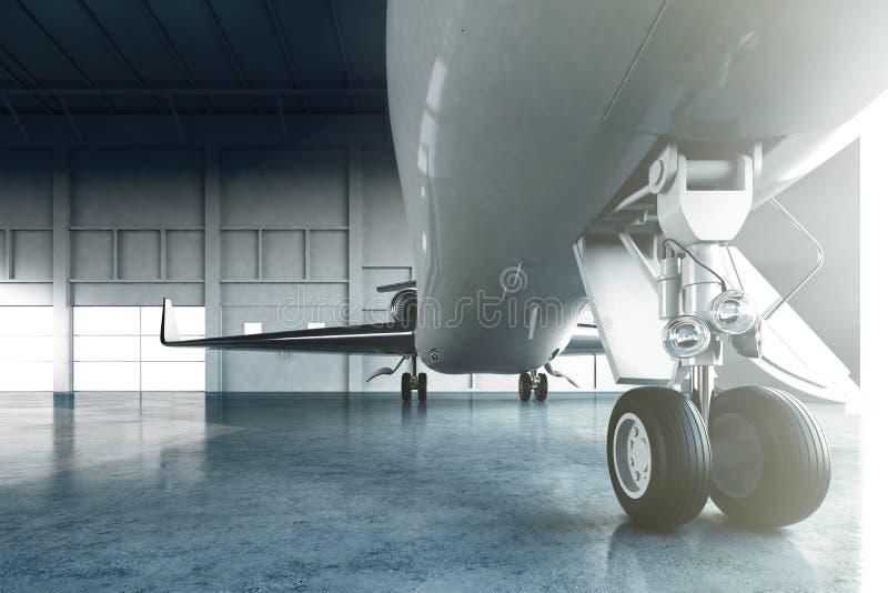 Foto del estacionamiento genérico de lujo brillante blanco del jet privado del diseño en aeropuerto del hangar Imagen del viaje d libre illustration