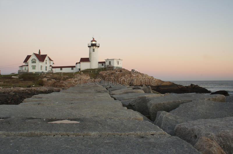 Foto del faro del este de la punta en Nueva Inglaterra imagen de archivo