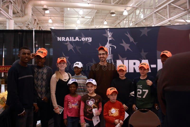 Foto del gruppo alla cabina di NRAILA immagini stock libere da diritti