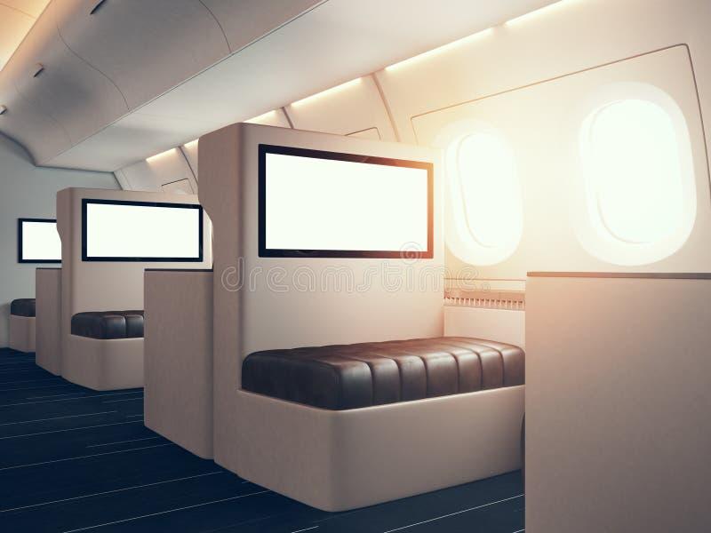Foto del interior de lujo del aeroplano El sostenerse digital en blanco de los paneles Espacio vacío maqueta horizontal 3d rinden stock de ilustración