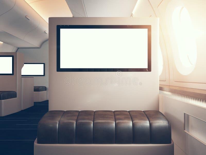 Foto del interior de lujo del aeroplano, primera clase El sostenerse digital en blanco de los paneles maqueta horizontal 3d rinde libre illustration