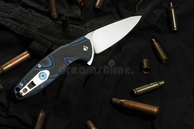 Foto del lato posteriore del coltello Clip sul retro del coltello immagini stock