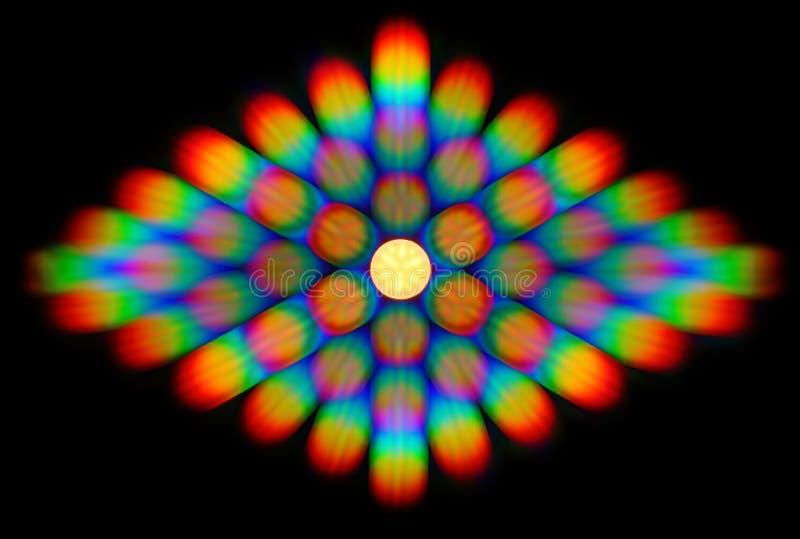 Foto del modello di diffrazione della luce della lampada del LED, comprendente tantissimi ordini di diffrazione illustrazione vettoriale
