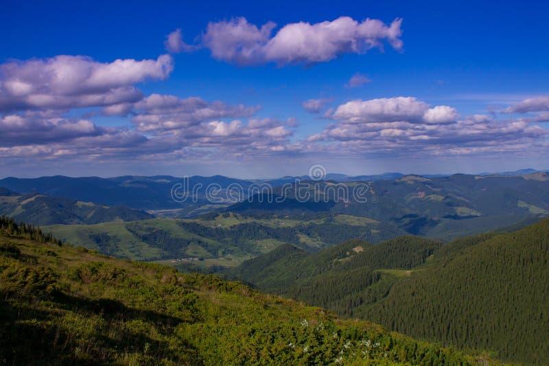 Foto del paesaggio della montagna di estate sotto il bello cielo nuvoloso L'Ucraina, Carpathians, villaggio di Dzembronia fotografia stock