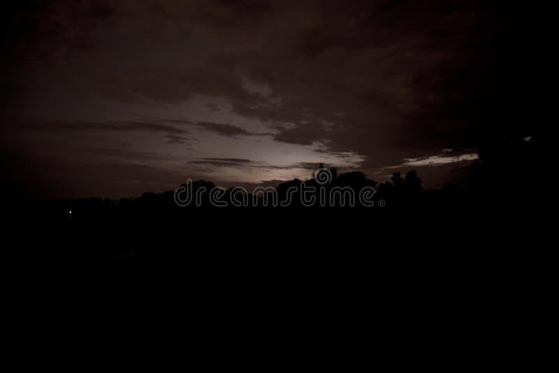 Foto del paesaggio di notte Foresta nel crepuscolo immagine stock libera da diritti