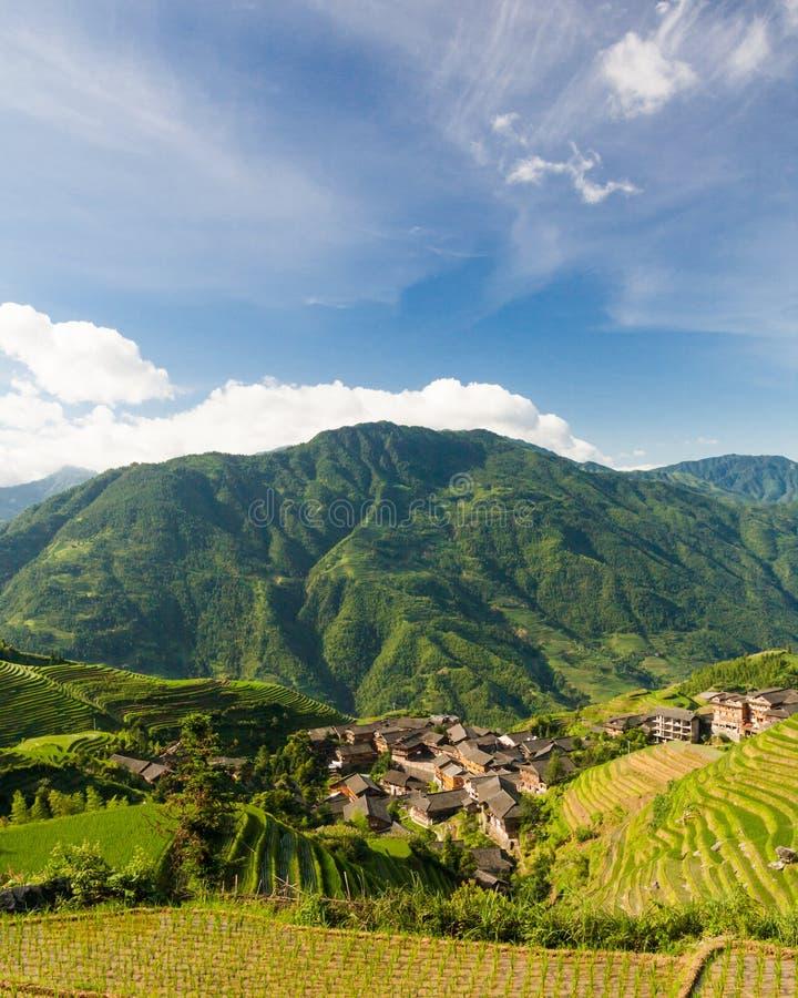 Foto del paisaje de las terrazas del arroz en China imagenes de archivo