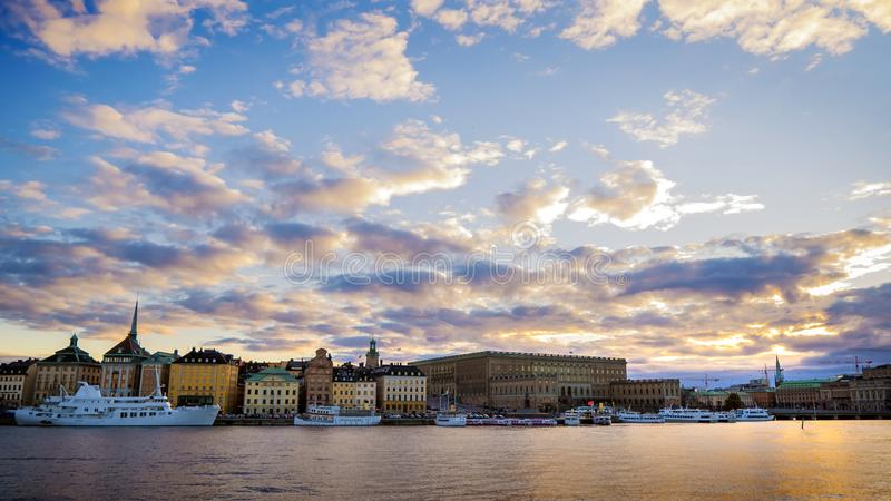 Foto del panorama de la ciudad de Estocolmo fotos de archivo