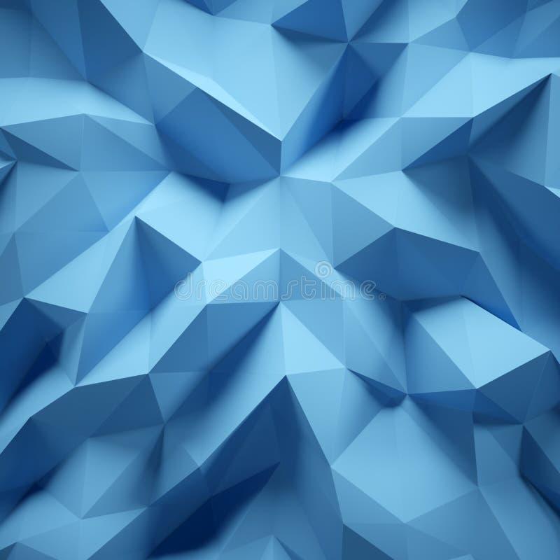Foto del poligono multicolore altamente dettagliato Poli stile basso triangolare arruffato geometrico blu quadrato 3d rendono royalty illustrazione gratis