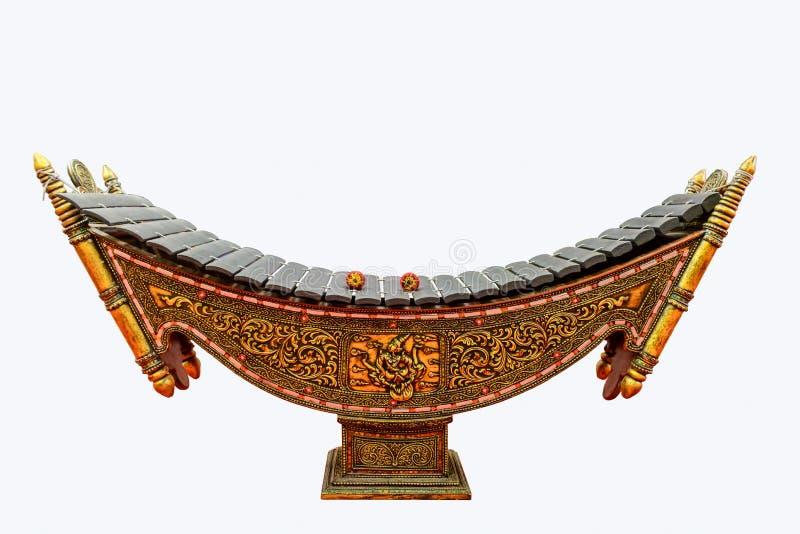 Foto del primo piano dello xilofono, strumento musicale tradizionale del Myanmar fotografie stock libere da diritti