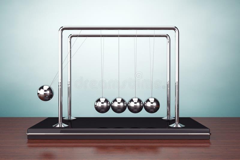 Foto del viejo estilo Esferas del movimiento perpetuo de Newton stock de ilustración