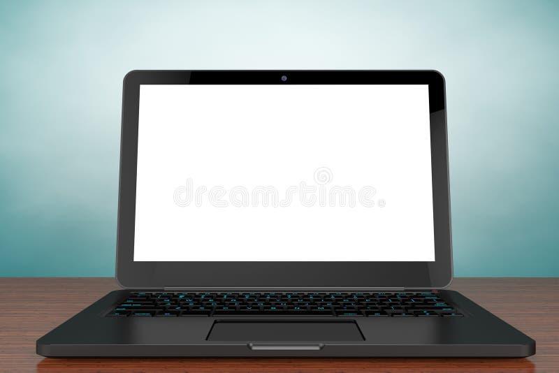 Foto del viejo estilo Ordenador portátil moderno abierto con la pantalla en blanco ilustración del vector