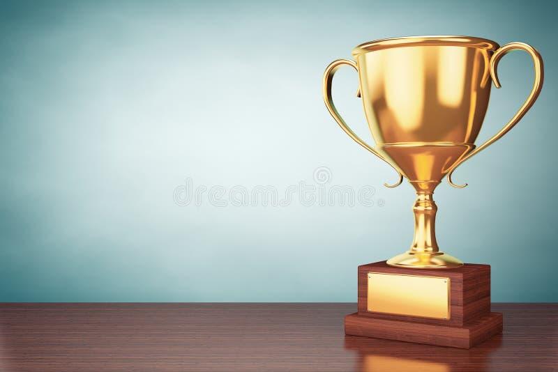 Foto del viejo estilo Trofeo de la taza del oro del campeón ilustración del vector