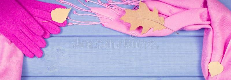 Foto del vintage, capítulo de guantes y del mantón femeninos, ropa para el otoño o invierno, espacio de la copia para el texto fotos de archivo libres de regalías