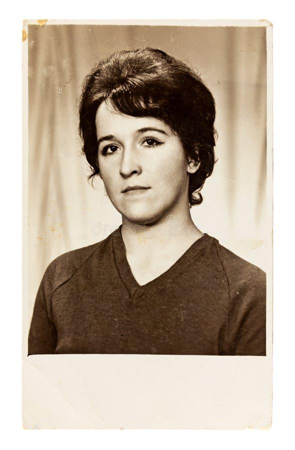 Foto del vintage de la mujer joven hermosa fotografía de archivo