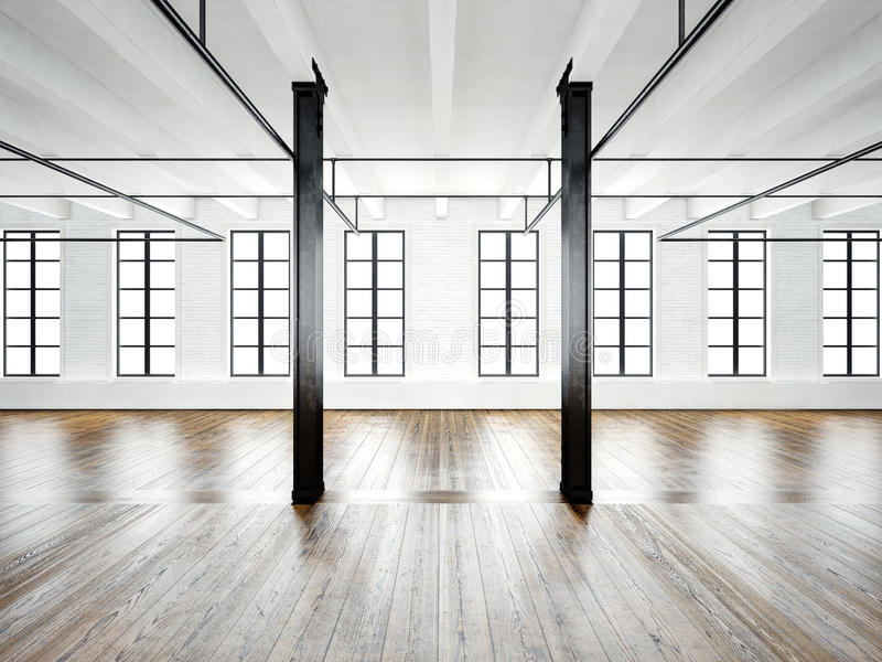 Foto dell'interno dello spazio aperto in sottotetto moderno Pareti bianche vuote Pavimento di legno, fasci neri, grandi finestre  illustrazione vettoriale