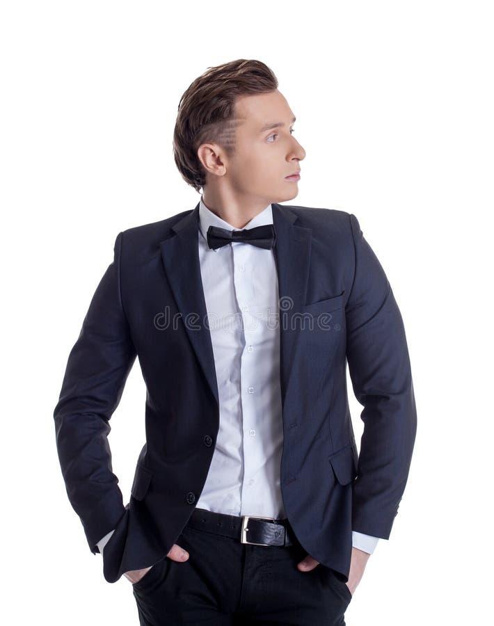 Foto dell'uomo d'affari alla moda, isolata su bianco immagini stock libere da diritti