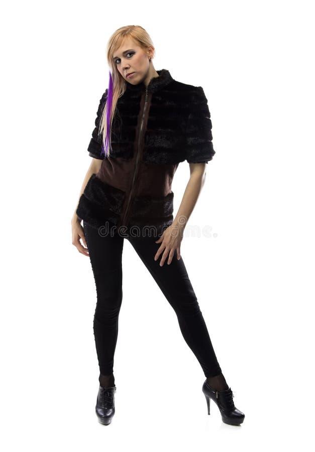 Foto della bionda nel nero immagini stock libere da diritti
