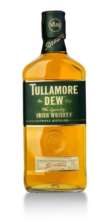Foto della bottiglia della rugiada di Tullamore fotografie stock