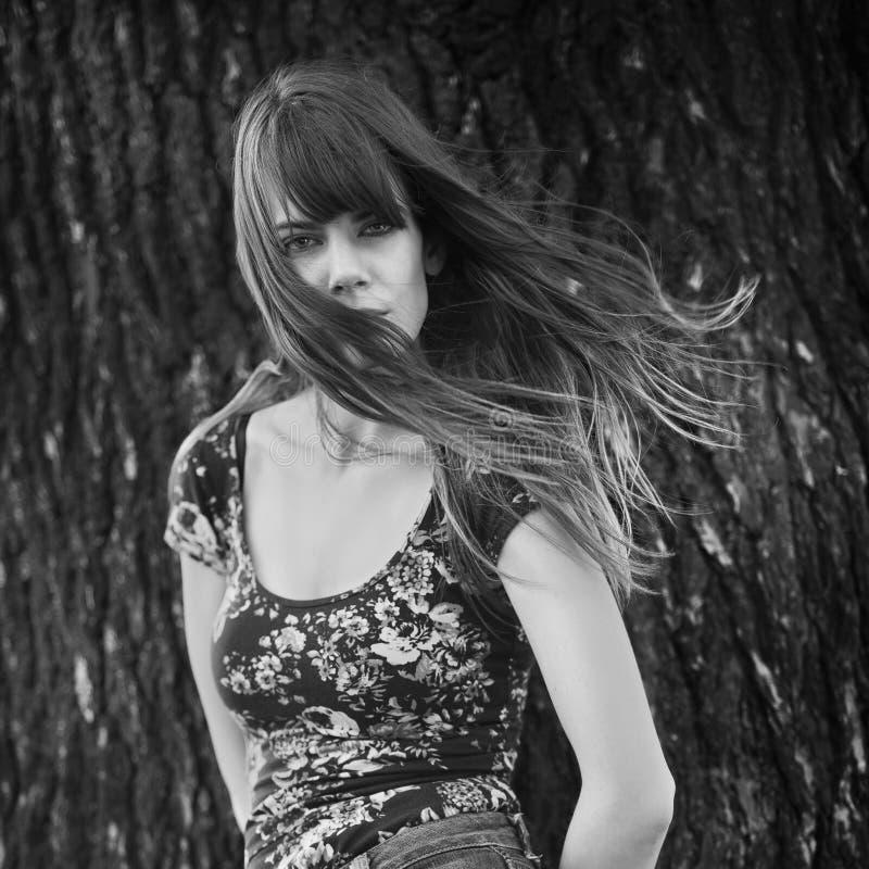 Foto della donna che posa vicino ad un albero con capelli ventosi fotografie stock