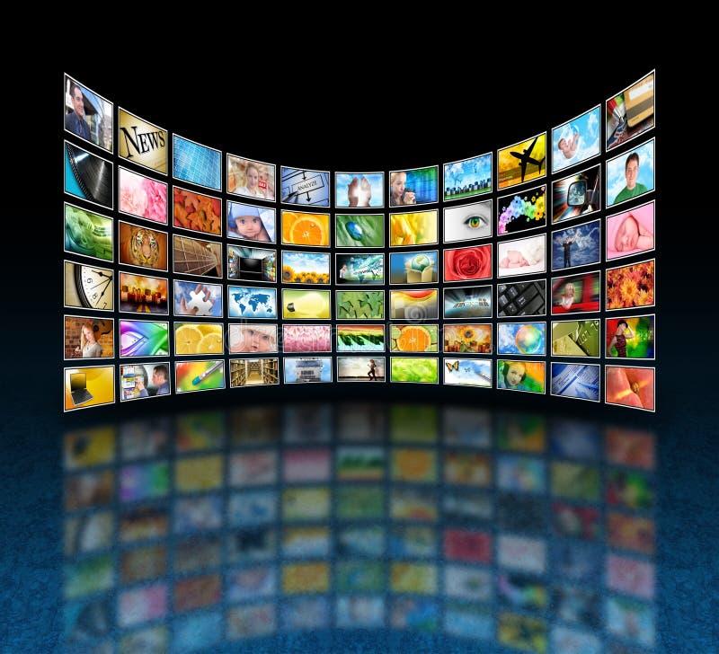 Foto della galleria di media sul nero fotografia stock libera da diritti