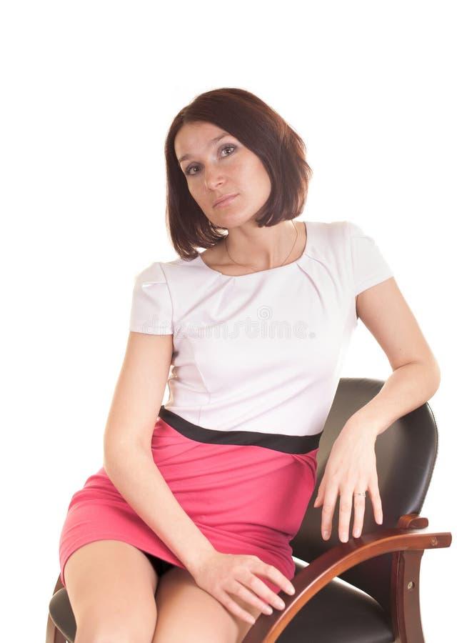 Giovane signora isolata su fondo bianco fotografie stock libere da diritti