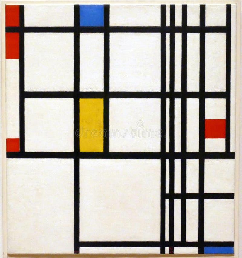 Foto della pittura originale da Piet Mondrian: Composizione nel ` rosso, blu e giallo nel ` immagini stock libere da diritti