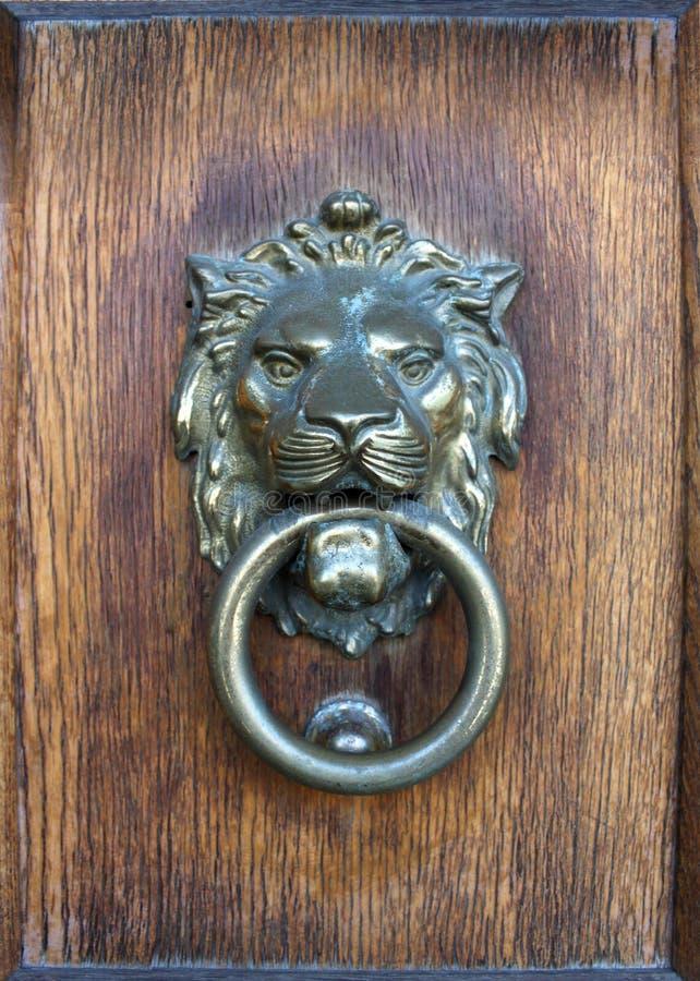 Foto della porta di legno con la testa del leone immagini stock libere da diritti
