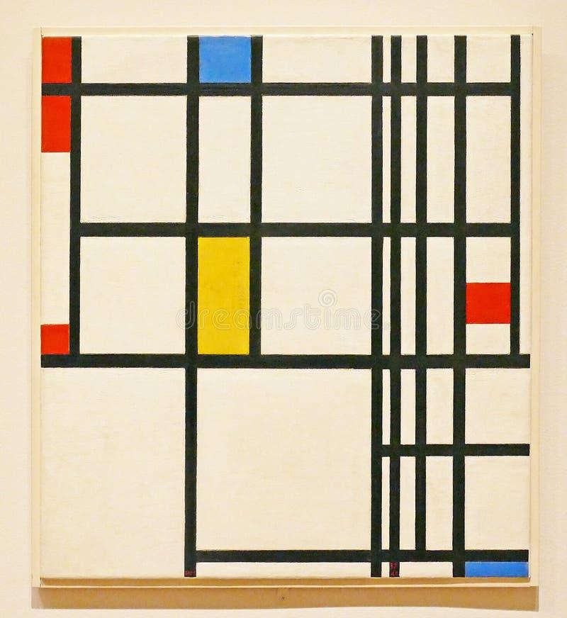 Foto der berühmten ursprünglichen Malerei: ` Zusammensetzung im roten, blauen und gelben ` durch Piet Mondrian stockbild