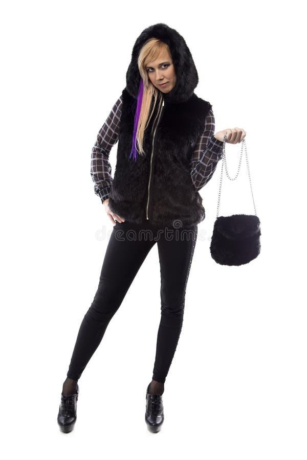 Foto der Blondine in der Haube, Hand oben lizenzfreie stockfotos