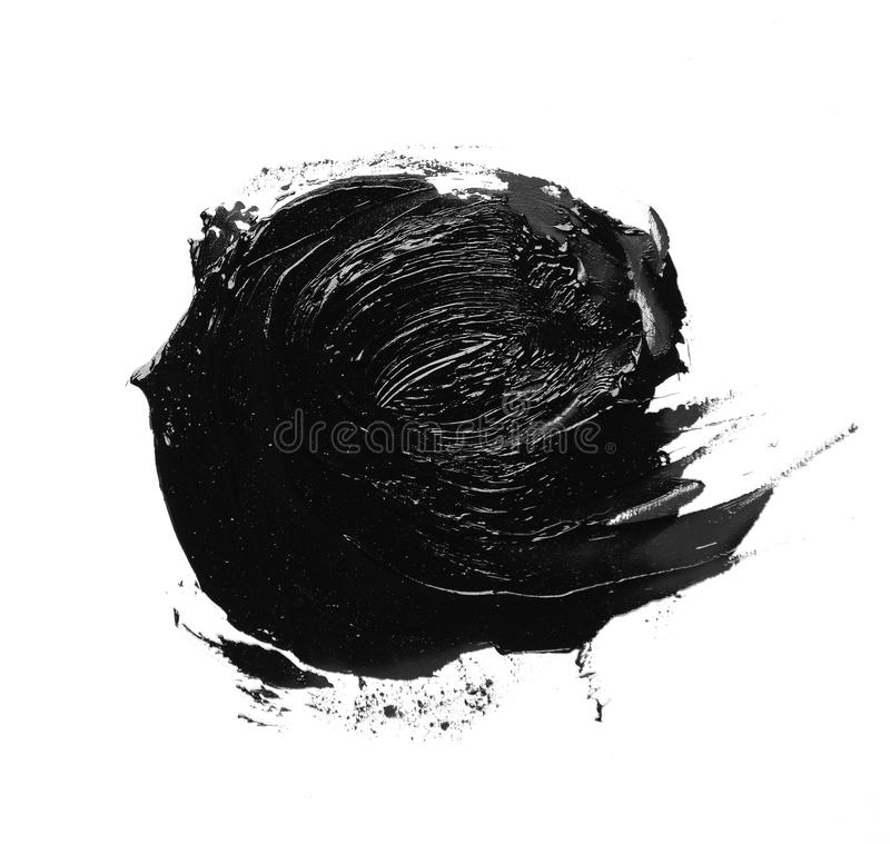 Foto der bunten schwarzen Bürstenanschlag-Ölfarbe lokalisiert lizenzfreie stockfotos