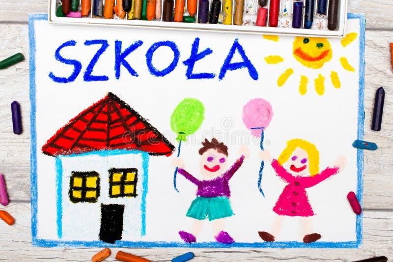 Foto der bunten Zeichnung: Polnisches Wort SCHULE, stock abbildung