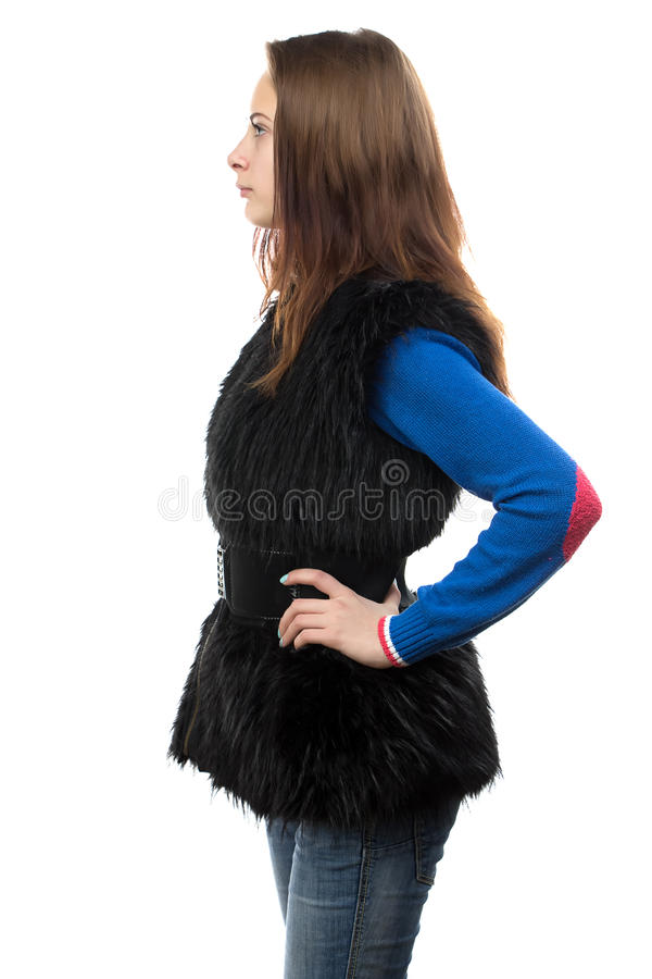 Foto der jungen Frau in der Pelzweste - Profil lizenzfreies stockbild