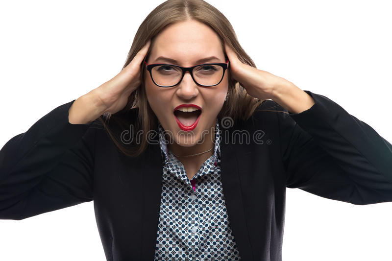 Foto der müden und schreienden Geschäftsfrau stockbilder