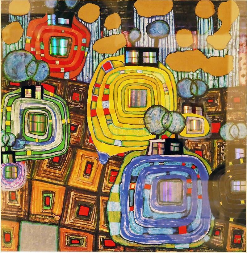 Foto der Malerei: ` PAVILLONS UND BUNGALOWS FÜR EINGEBORENE UND AUSLÄNDER ` durch Hundertwasser stockfotos
