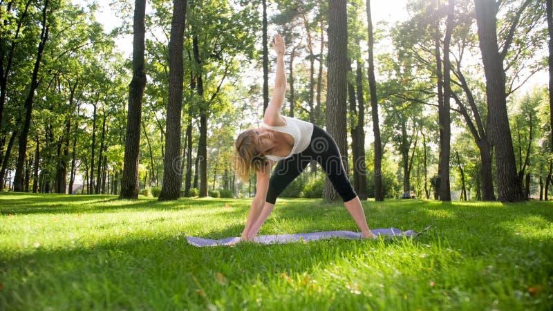 Foto der Mitte alterte l?chelndes ?bendes asana Yoga der Frau Persong, der in der Natur meditiert Balance und Harmonie des K?rper lizenzfreie stockbilder