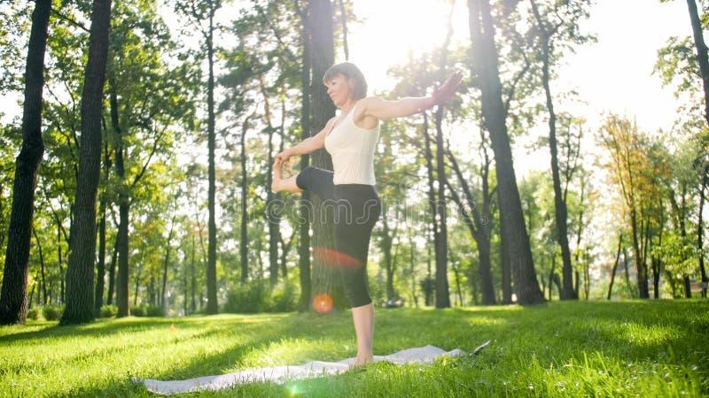 Foto der Mitte alterte l?chelndes ?bendes Yoga der Frau und das Meditieren am Park Frau, die Eignung auf Matte an ausdehnt und tu lizenzfreie stockfotografie