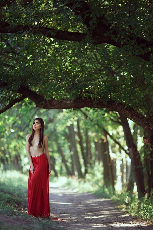 Foto Der Sexy Frau Der Mode Mit Der Nackten Brust Im Roten