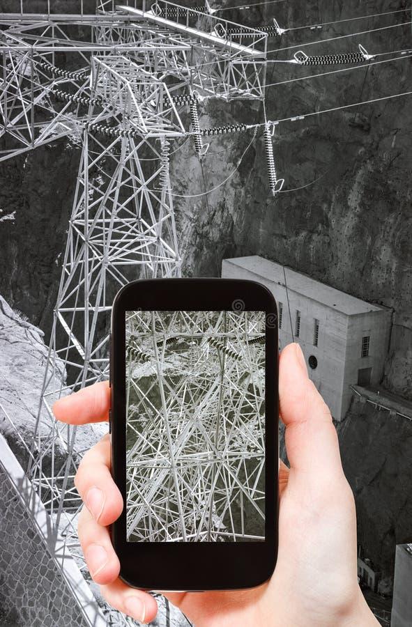 Foto der Starkstromleitung Hooverdamms lizenzfreies stockfoto