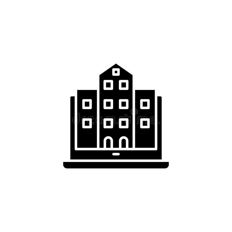 Foto des Gebäudeschwarz-Ikonenkonzeptes Foto des flachen Vektorsymbols des Gebäudes, Zeichen, Illustration lizenzfreie abbildung