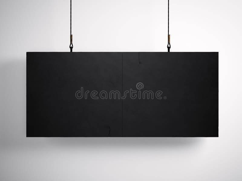 Foto des leeren schwarzen Segeltuches, das am weißen Hintergrund hängt 3d übertragen stock abbildung