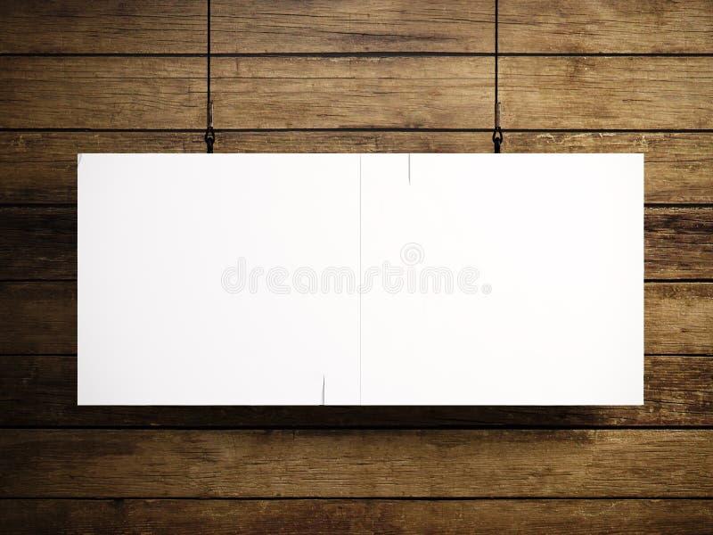 Foto des leeren weißen Segeltuches, das am hölzernen Hintergrund hängt 3d übertragen stock abbildung