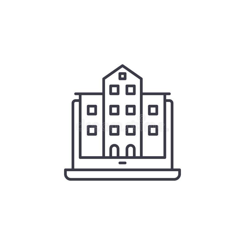 Foto des linearen Ikonenkonzeptes des Gebäudes Foto der Baulinie Vektorzeichen, Symbol, Illustration vektor abbildung